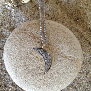 Pave diamond moon necklace by DylanKDesigns on Etsy