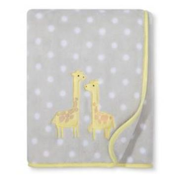 Plush Appliqued Blanket Giraffes - Cloud Island™ Gray