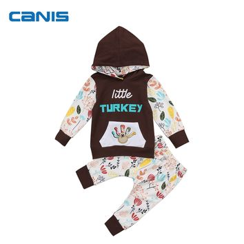 Kids Boys Girls Baby Thanksgiving Outfits Turkey  Hooded Tops + Long Pants Bebes Clothes For 0-24M