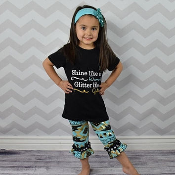 "Baby Girl's Outfit, ""Shine Like A Diamond"" Aztec, Ruffled Capri Pant, Toddler Girl Outfit, Kids Clothes, Children's Clothing, Spring, Summer"