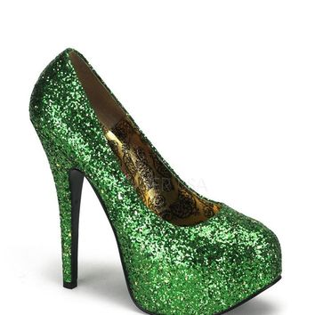 Bordello Green Glitter Pump Platforms