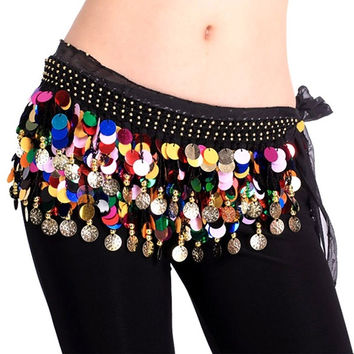 Chiffon Belly Dance Hip Scarf Skirt Wrap Multi-color Coins Black = 1705738308