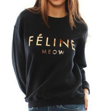 Feline Meow [gold plastic] gold printed letter sweater plus velvet sweater
