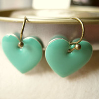 Mint Green Heart Earrings by PiggleAndPop