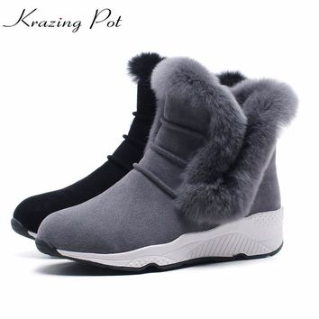 Krazing Pot cow suede new arrival Russian warm boots superstar wedges winter rabbit fur snow boots slip on women ankle boots L60