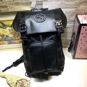 cc kuyou Gucci Backpack Plain Matt Black