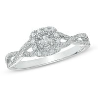 1/10 CT. T.W. Diamond Frame Twist Shank Promise Ring in 10K White Gold