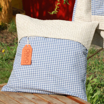 Handmade Throw Pillow. Decorative Couch Pillows. Blue Cotton & Hemp Plaid Cusion. Housewarming Gift Ideas By Three Snails. Free Shipping!