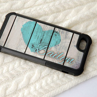 Mint Rustic Monogram Hybrid Phone Case - Plastic + Silicone Personalized + Monogram Teal - Turquoise