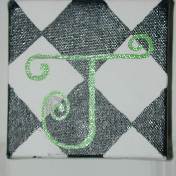 "4""x4"" canvas: Adorable, hand painted baby or child initial for door, nursery or wall."