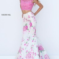 Long Open Back Print Two Piece Prom Dress by Sherri Hill