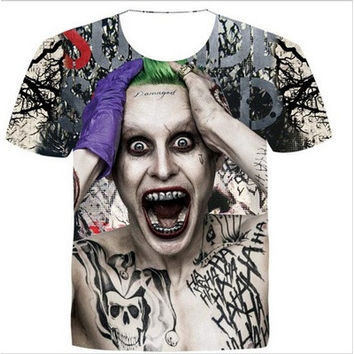 New Fashion Womens/Mens Suicide Squad Joker Funny 3D Print Casual T-Shirt  [8833516684]