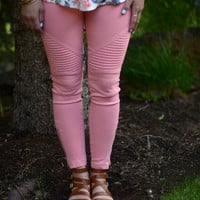Go For It Moto Pants- Coral