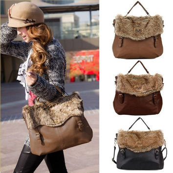 Faux Fur Women Lady PU Leather Faux Fur Messenger Satchel Shoulder Bag Fashion Purse Handbag Tote Bags Brown| Black| Khaki H10129 (Color: Black) = 1932754756