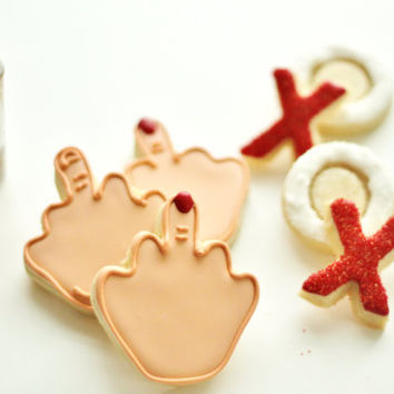 Middle Finger - Anti Valentine Decorated Sugar Cookies