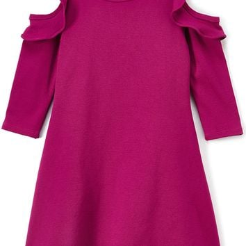 Solid Ruffle Cold Shoulder Mulberry Purple Casual Dress Girls 4-14