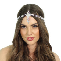 1920's Great Gatsby Inspired Crystal Pendant Headpiece
