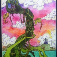 Bean Stalk Fairy Tale 11x14 Water Color Canvas Painting