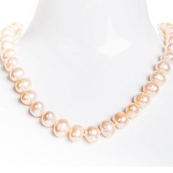 Single Strand Peach Freshwater Pearl Necklace 9-10mm
