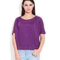 Chemistry Purple Rayon Round Neck Tops
