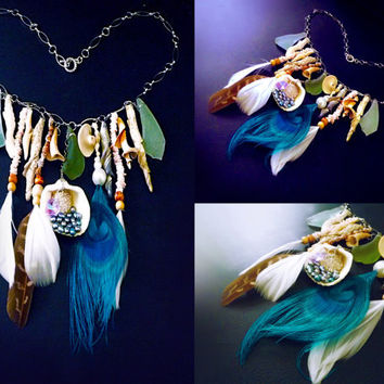 Boho mermaid necklace, shell necklace, beach necklace, bohemian necklace, natural ocean necklace, feather necklace, statement necklace, OOAK