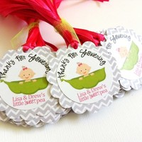 Thanks for Showering Little Sweet Pea Tags with Baby Girl in Pea Pod