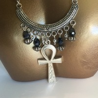 Egyptian Anhk silver necklace/Free Shipping