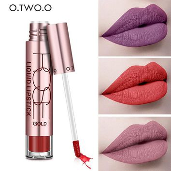 Professional 2017 Matte Lips Makeup Lipgloss Liquid Long Lasting Ruby Red Velvet Matte Lipstick Gloss Tint By O.TWO.O Cosmetics