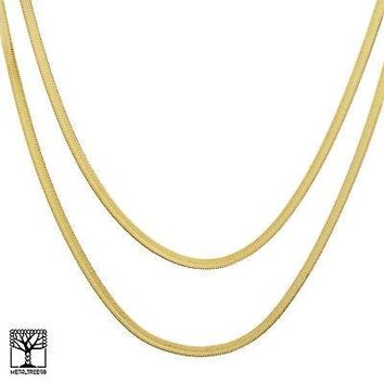 "Jewelry Kay style Men's Bling 14K Gold Plated 5 mm 20"" / 24"" Double Herringbone Chain Necklace"
