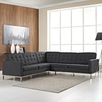 Loft L-Shaped Wool Sectional Sofa - Dark Gray