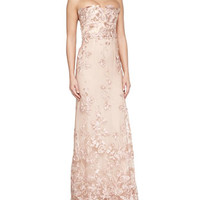 Marchesa Notte Strapless Floral Applique Gown