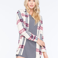 Full Tilt Boyfriend Plaid Womens Shirt Cream Combo  In Sizes