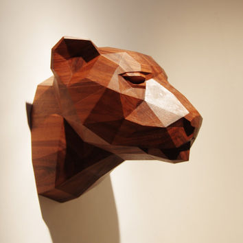 Wooden Leopard Head, Precious Oiled Black Walnut Sculpture, Geometric Design. Limited Edition