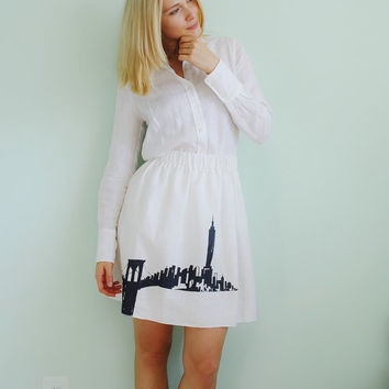 Good morning New York white linen mini skirt/ Minimalist/ Bold/ Architecture/ Casual/ Urban fashion/ rusteam tt team teamstyle