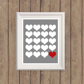 Valentines day heart graphic design, INSTANT DOWNLOAD, printable home decor, prints and posters, dorm room, red and gray art