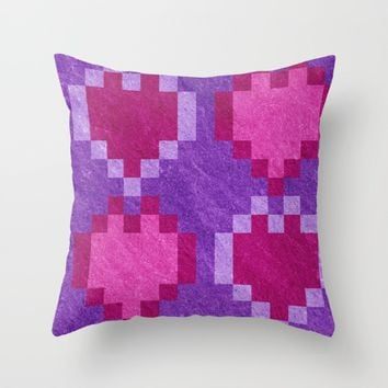 Pink Purple PIxel Hearts Throw Pillow by Likelikes | Society6