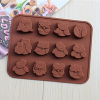 Kitchen Accessories Silicone Owl Cake Decoration Mould Candy Cookies Chocolate Soap Baking Mold Tool (Size: One Size, Color: Brown) = 5658097345
