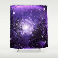 Trees, Stars and Lavender Skies Shower Curtain by Minx267