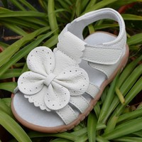 new genuine leather girls sandals white summer walker shoes with butterfly antislip sole kids toddler 12.3-18.3 insole