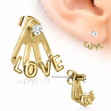 Gold Plated ?Trident Triple? Love Earring