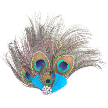 Peacock Feather Rhinestone Hairpin Hair Clips Dance Party Wedding Hair Band Wear SM6