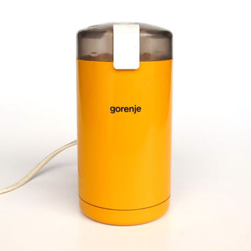 Vintage Orange Gorenje Coffee Grinder / 80's Orange Electric Coffee Grinder