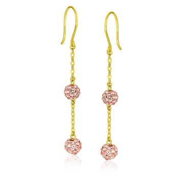 14k Yellow Gold Dangling Pink Tone Crystal Ball Earrings