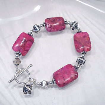 Pink Crazy Lace Agate and Sterling Silver Bracelet