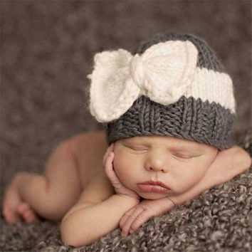 Cute Newborn Baby Knitting Hat Bow Knot Cap Infant Girl Winter Warm Beanie
