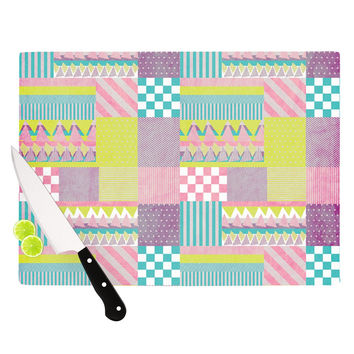 "Louise Machado ""Patchwork"" Purple Green Cutting Board"