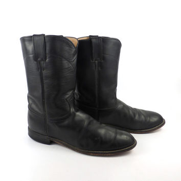 Justin Cowboy Boots Vintage 1980s Black Leather Roper Men's size 10 D