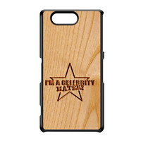 Carved on Wood Effect_Celebrity Hater Black Hard Plastic Case for Sony Xperia Z3 Mini by Chargrilled
