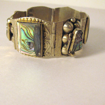 Vintage Silver Bracelet Abalone Shell by colorsoulartistry on Etsy