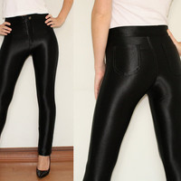 High Waisted Disco Pants Leggings Trousers in Shiny Black for Women